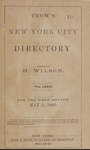 1860 New York City directory